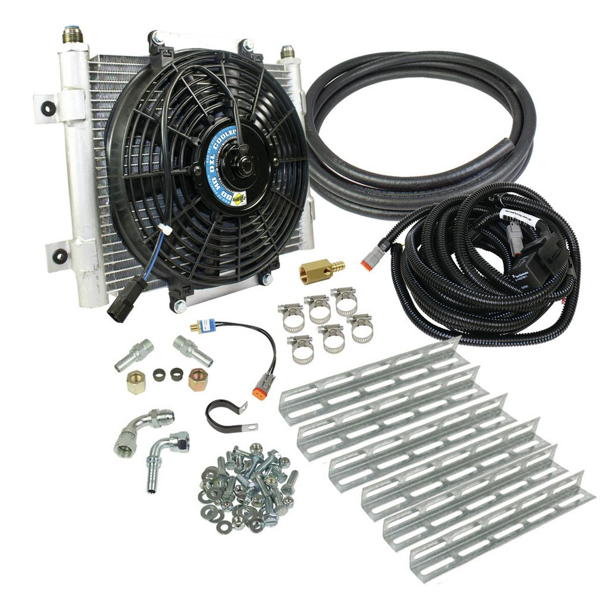 BD Xtrude Transmission Cooler with Fan - Complete Kit 1/2in Lines