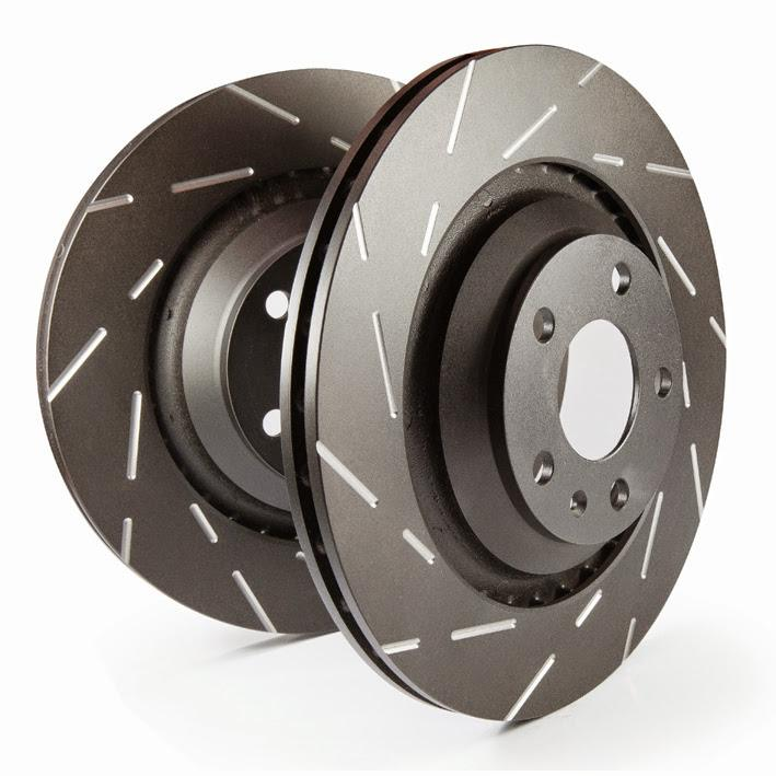 Slotted rotors feature a narrow slot to eliminate wind noise.