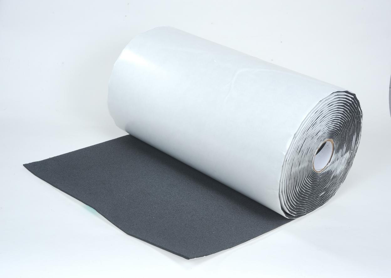 1 Roll of  24 in x 50 ft 1/8 in Silencer w/Pres Sens adhesive. Total 100 sqft.