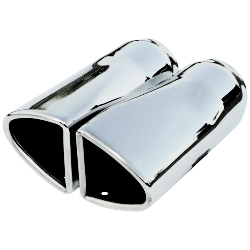 Exhaust Tip - Split Oval - 2pcs - Polished SS Fits 2.00 in. Tubing - weld on