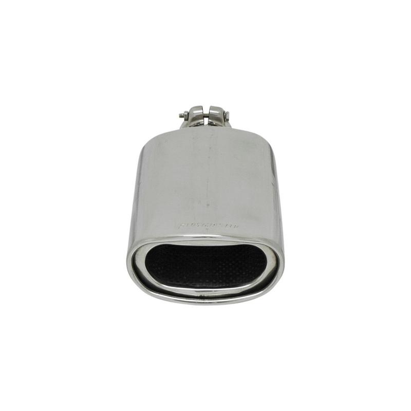 Exhaust Tip - 3.00 x 5.50 in Oval - Polished SS - Fits 2.25 in tubing -Clamp On