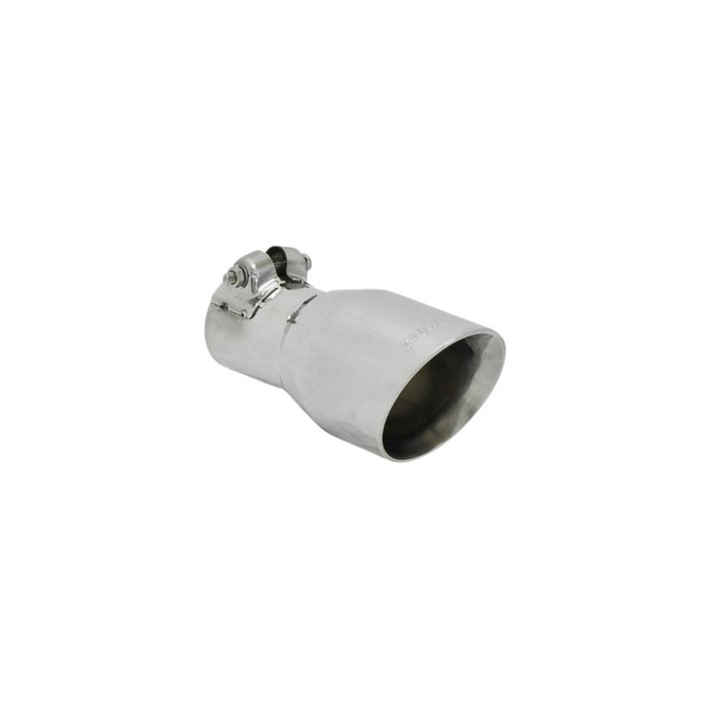 Exhaust Tip - 3.00 in Angle Cut Polished SS - Fits 2.00 in tubing - Clamp on