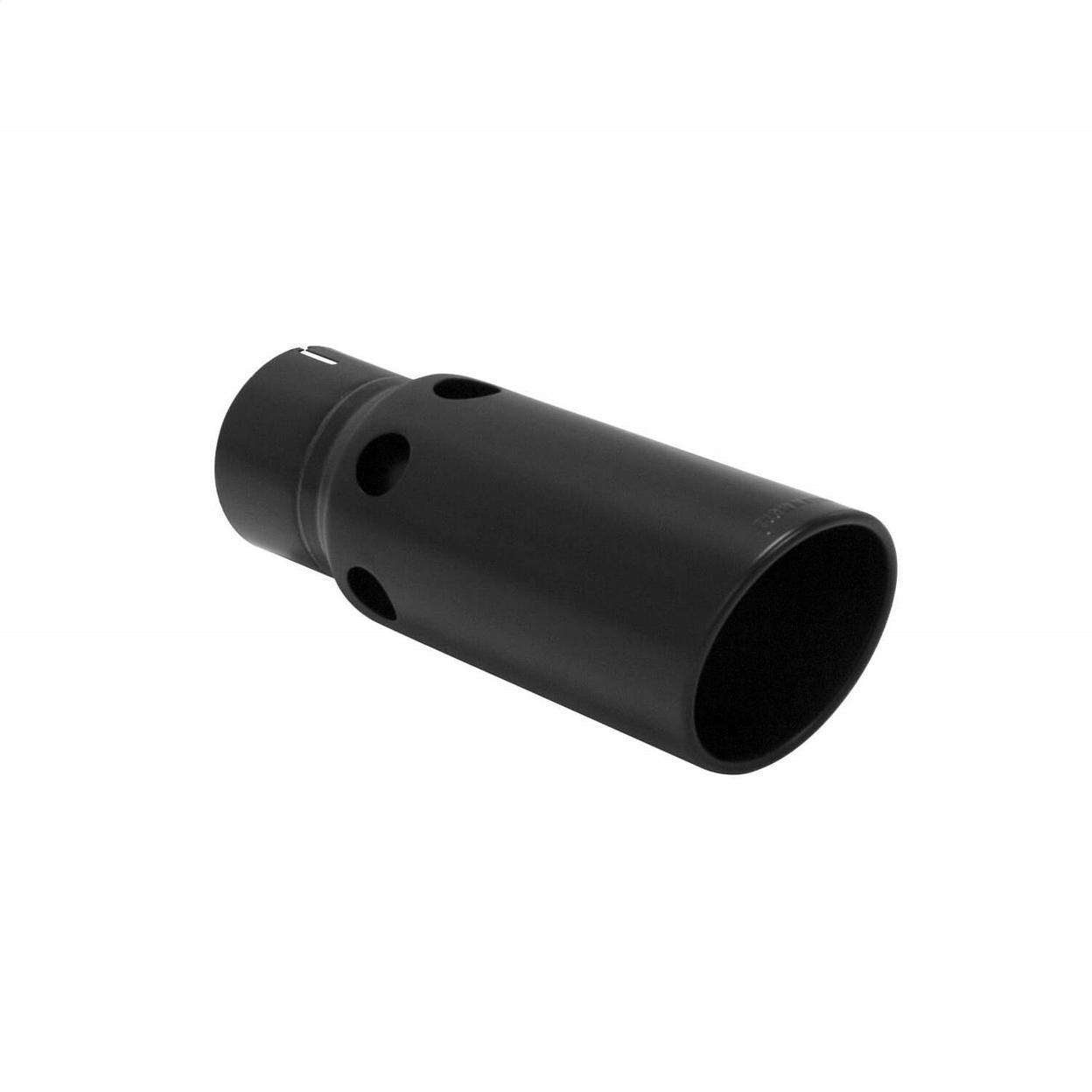 Exhaust Tip - 5.00 in. Rolled Angle Black Finish Fits 4 in. Tubing