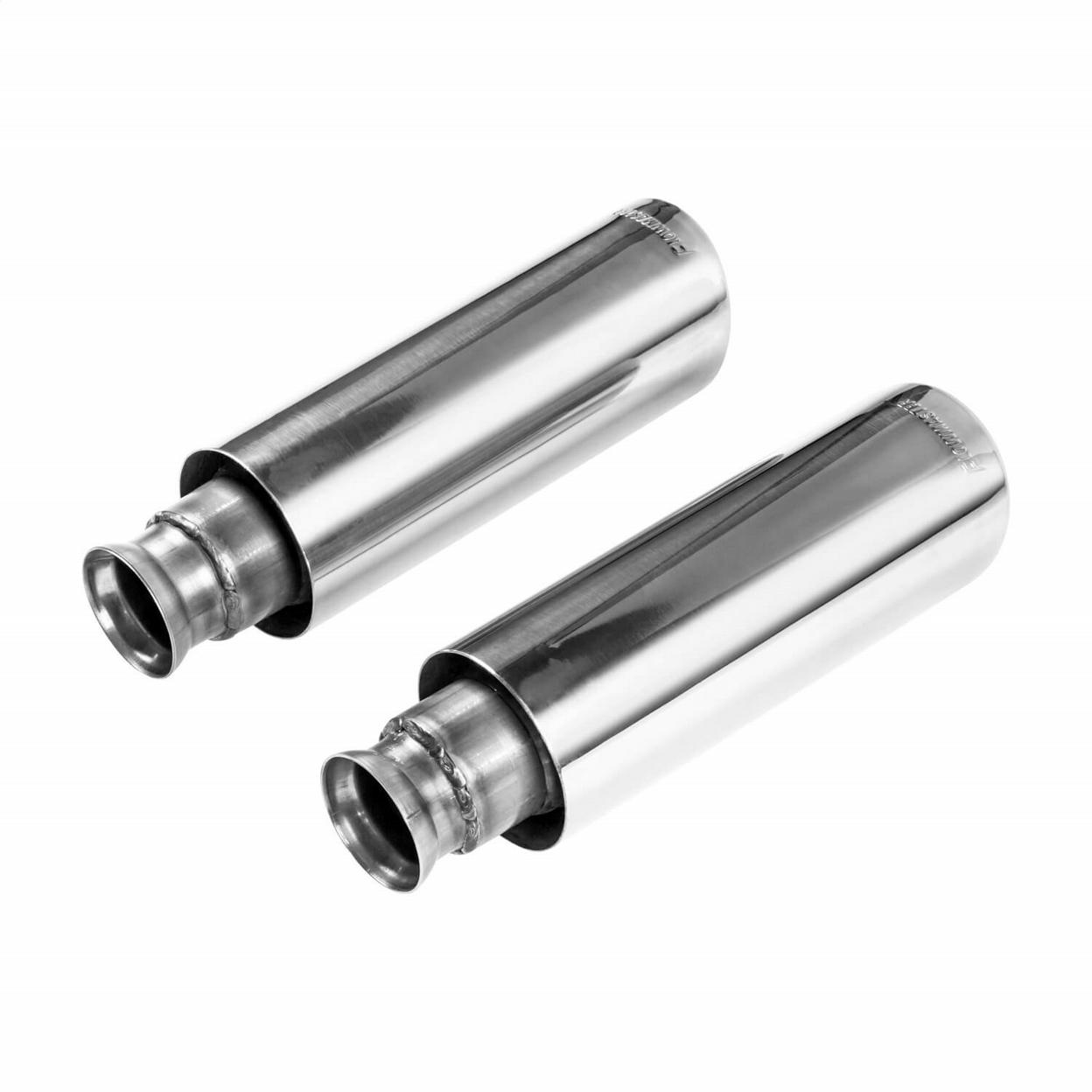 Exhaust Tip - 4.00 in. Angle Cut Polished SS - Clamp-On