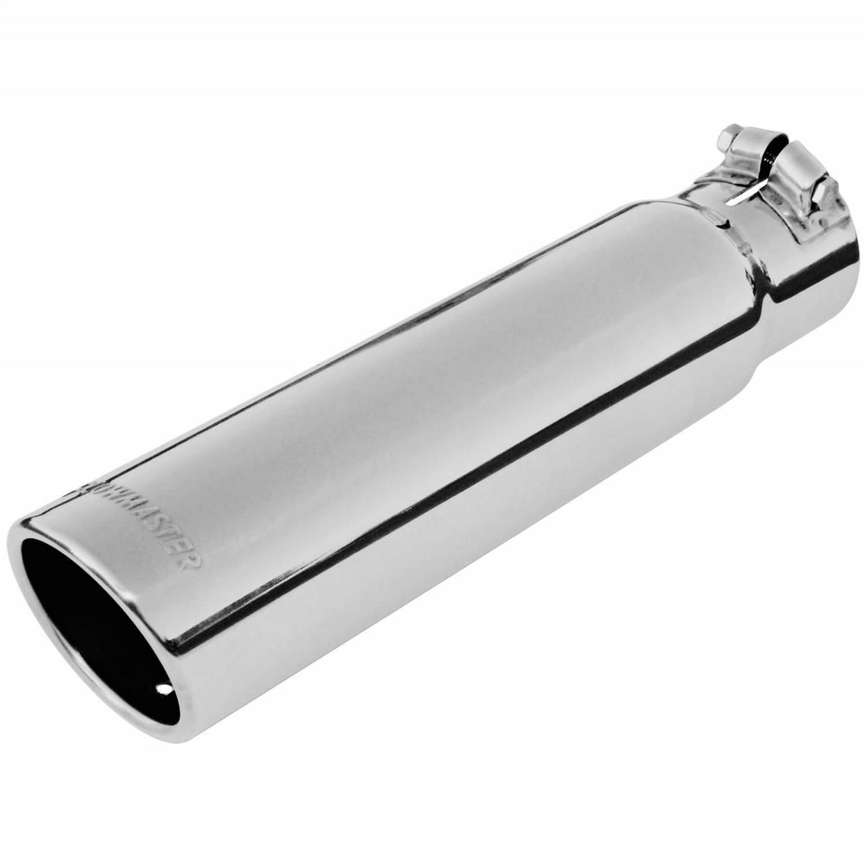 Exhaust Tip - 3.00 in. Rolled Angle Polished SS Fits 2.50 in. Tubing - clamp on