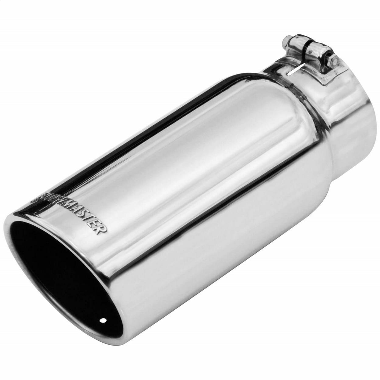 Exhaust Tip - 5.00 in. Rolled Angle Polished SS Fits 4.00 in. Tubing - Clamp On