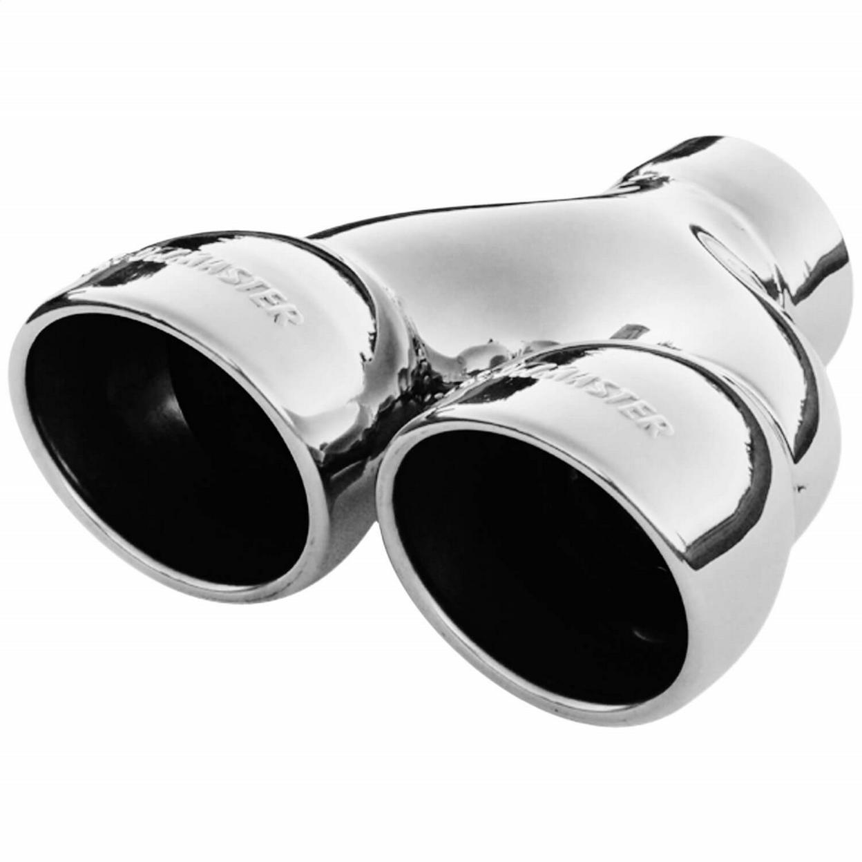 Exhaust Tip - Dual 3.5 in. Rolled Angle Polished SS Fits 2.50 in. Tubing-weld on