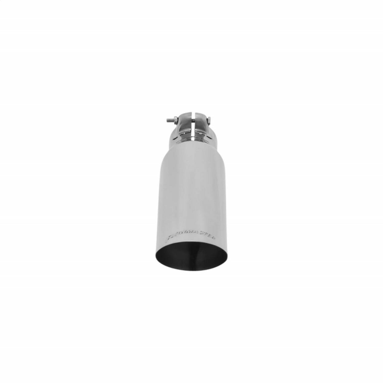 Exhaust Tip - 3.00 in. Angle Cut Polished SS Fits 2.25 in. Tubing - Clamp on