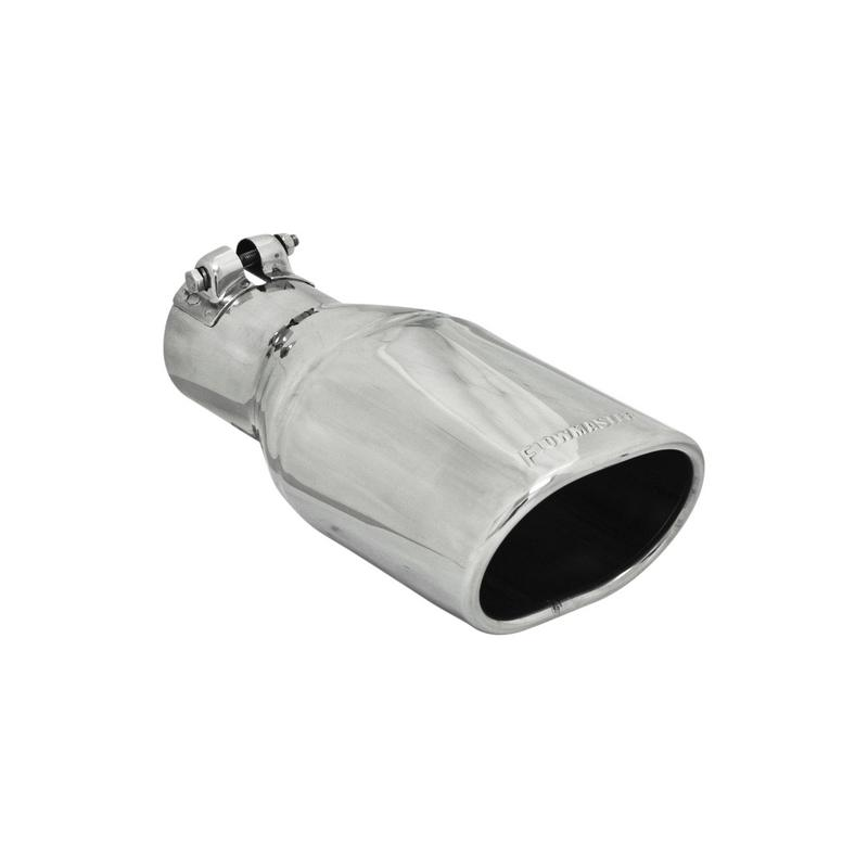Exhaust Tip - 3.25 x 4.25 in Oval Angle Cut Polished SS Fits 2.50 in. - Clamp on