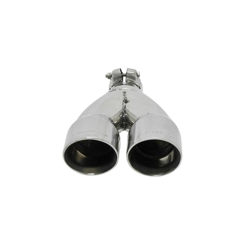 Exhaust Tip - 3.00 in. Dual Angle Cut Polished SS Fits 2.00 in. Tubing -Clamp on