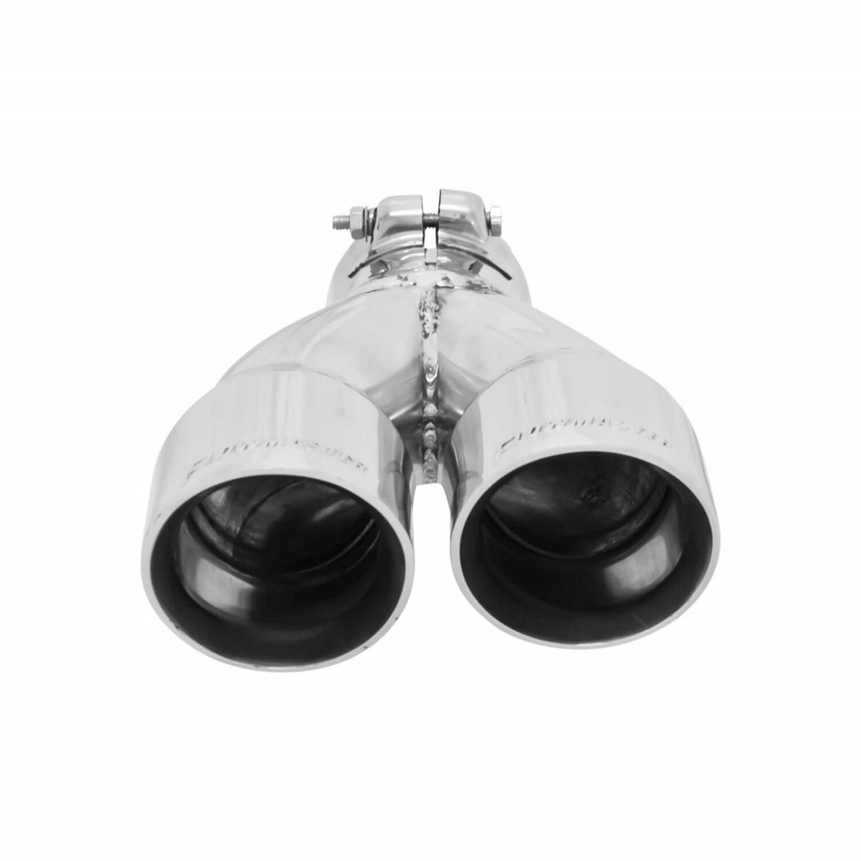 Exhaust Tip - 3.00 in Dual Angle Cut Polished SS Fits 2.50 in. - Right -Clamp on