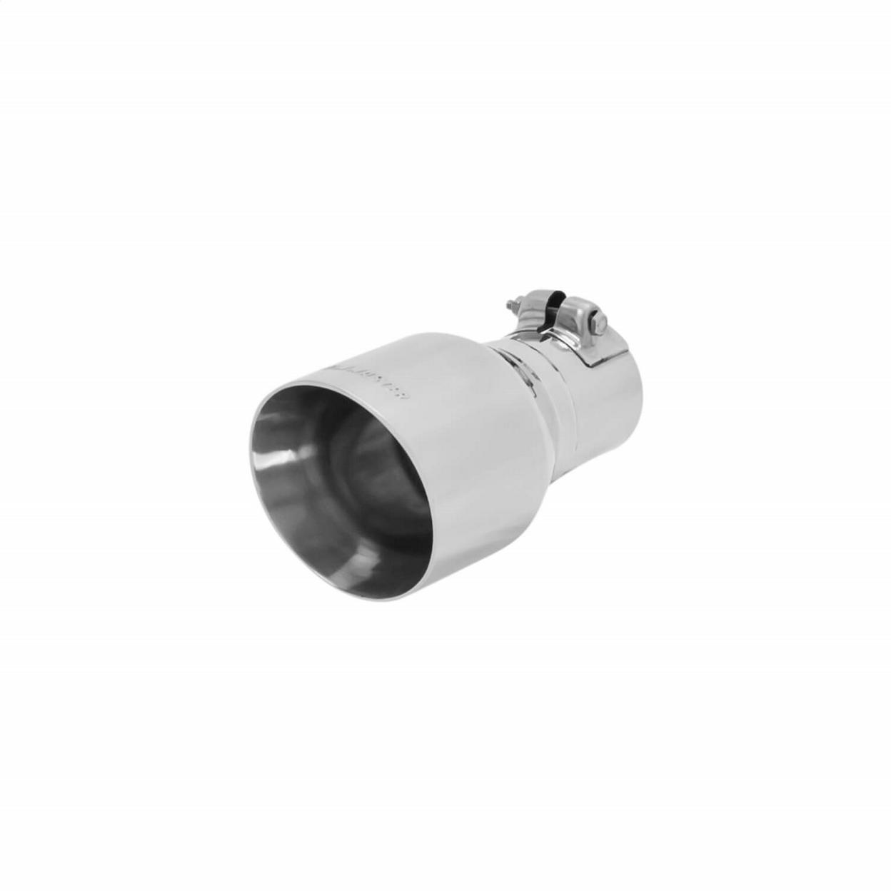 Exhaust Tip - 4.00 in. Angle Cut Polished SS Fits 2.50 in. Tubing - Clamp on