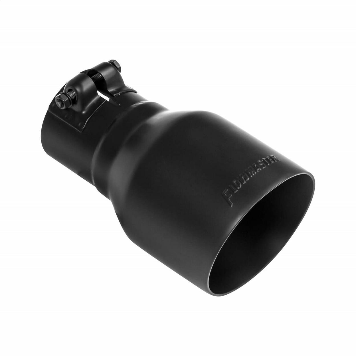 Exhaust Tip - 4.00 in. Black Ceramic Coated - Fits 2.5 in. Tubing- Clamp On