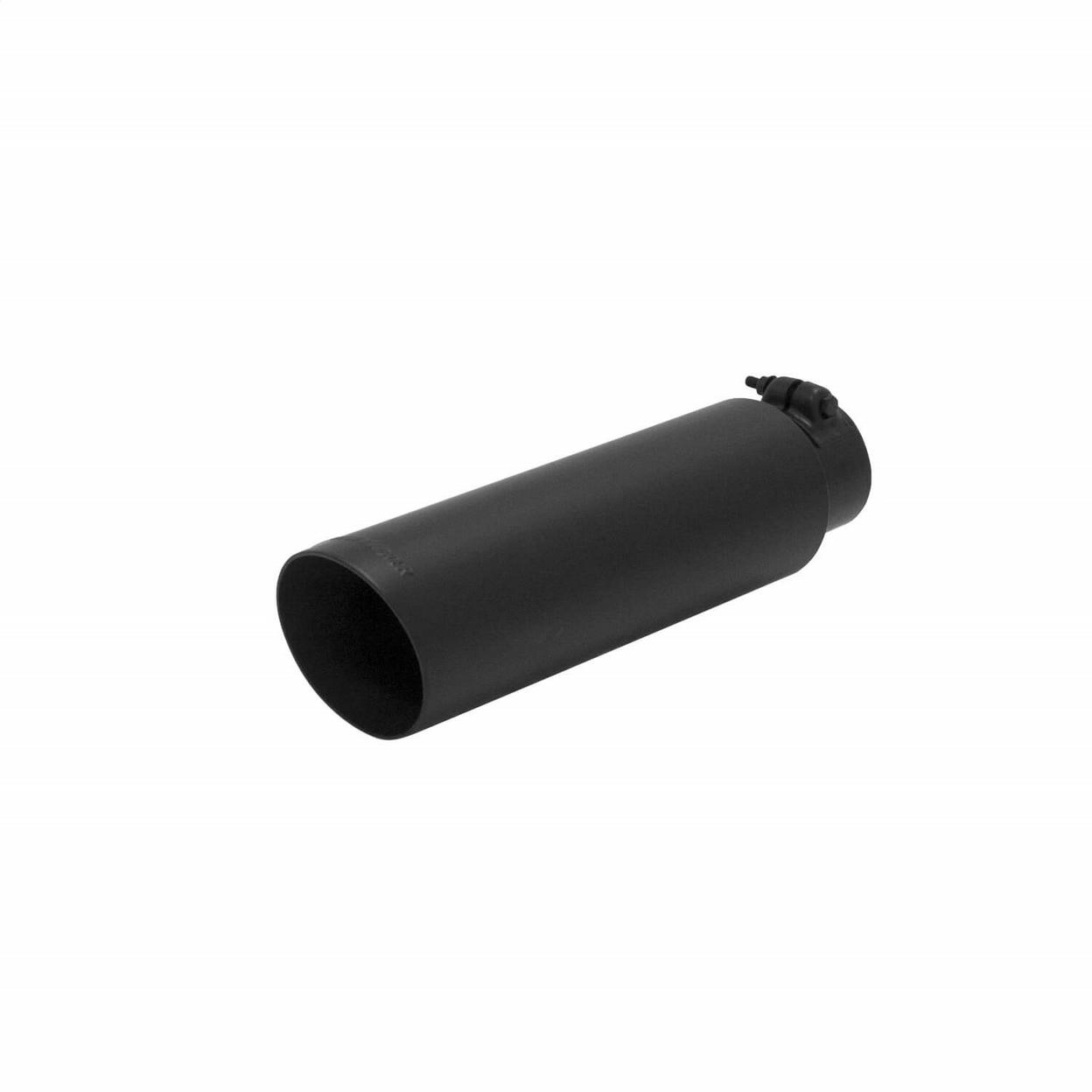 Exhaust Tip - 3.5 in. Black Angle Cut Fits 2.5 in. Tubing- Clamp On