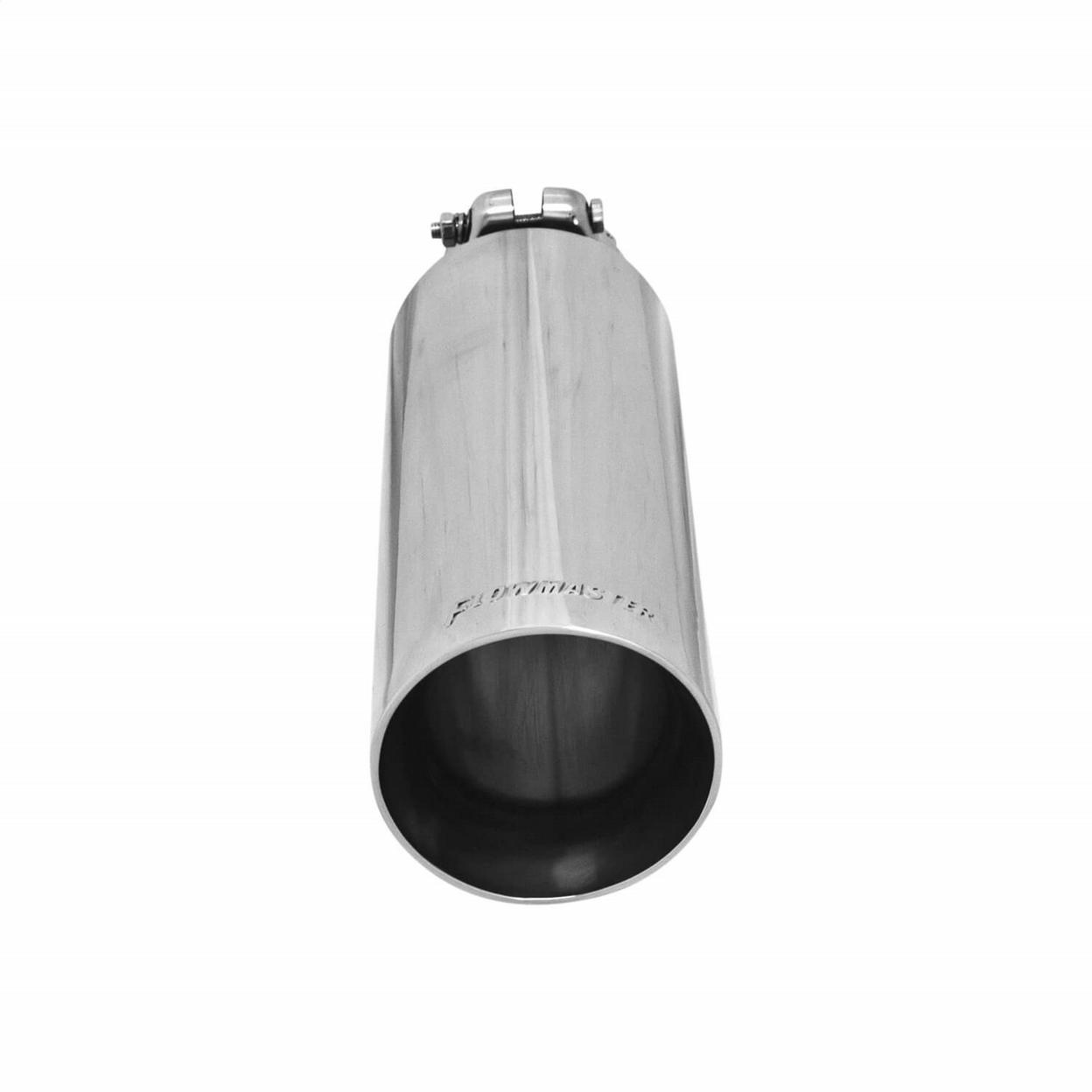 Exhaust Tip - 3.50 in. Angle Cut Polished SS Fits 2.50 in. Tubing - Clamp on
