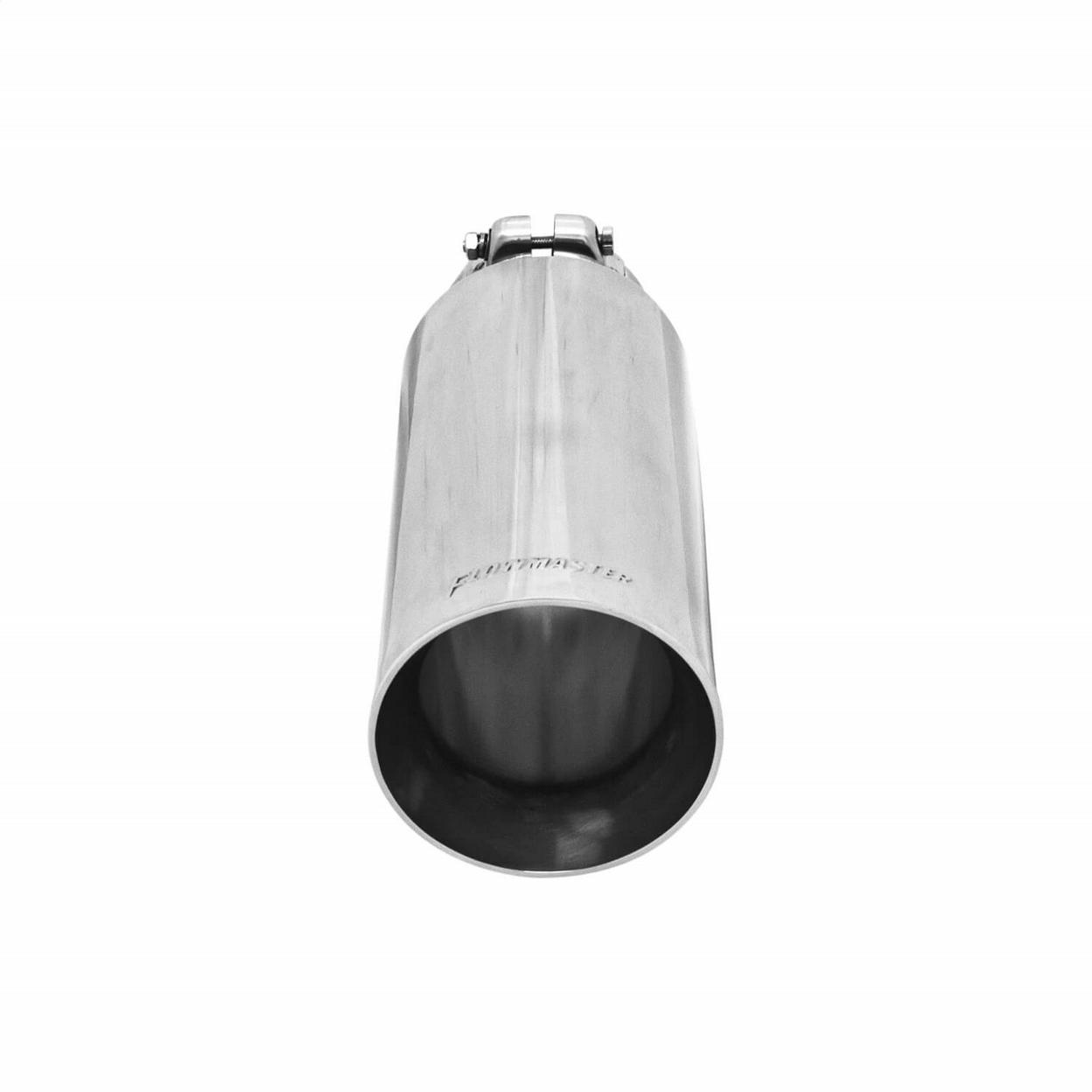 Exhaust Tip - 4.00 in. Angle Cut Polished SS Fits 3.00 in. Tubing - Clamp on