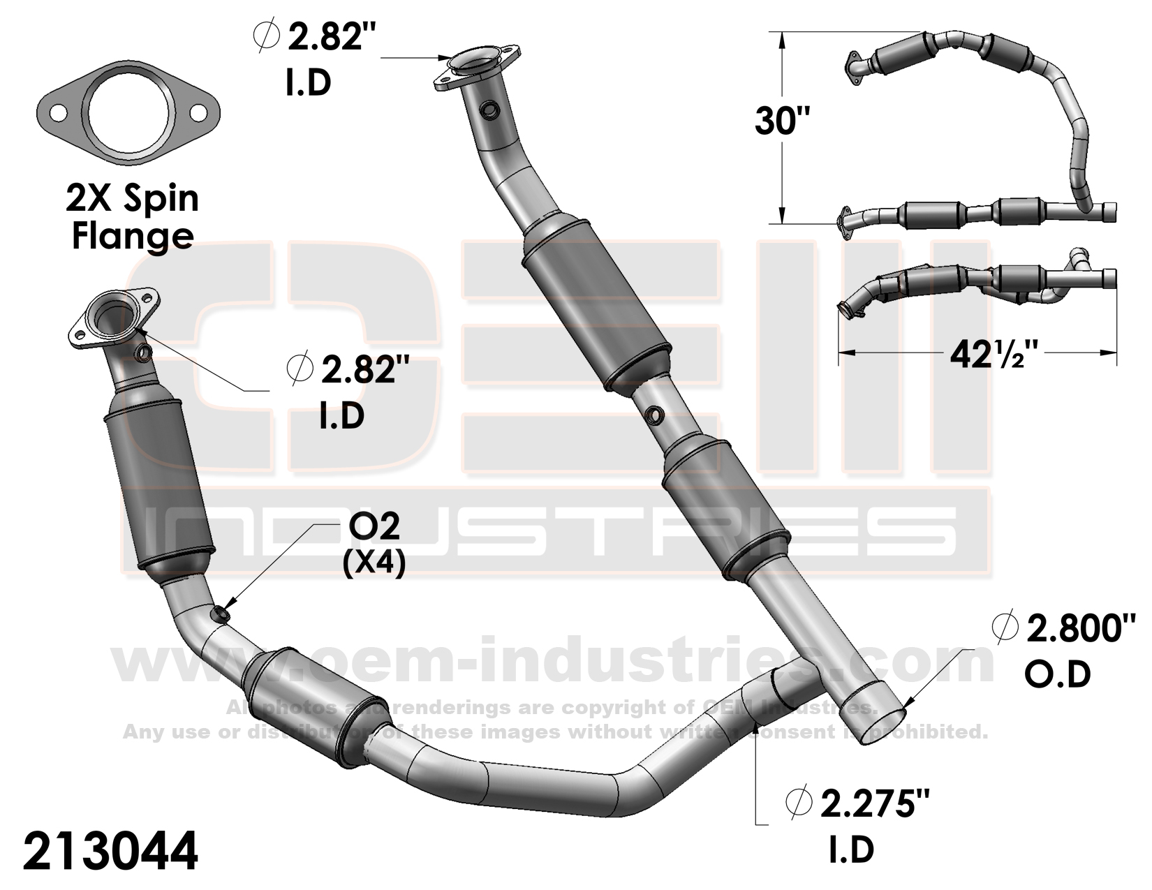 OEM Industries 213044 CATALYTIC CONVERTER AND PIPE ASSEMBLY